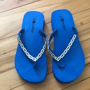 Chatties royal blue sandals/crystal rectangle trim